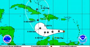 Coastal Watches/Warnings and 5-Day Forecast Cone for Storm Center - Source NHC