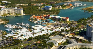 Port Lucaya Marina Aerial In Grand Bahama, Port Lucaya Marina has been a popular port of call immediately after the storm and business has returned to normal. With underground cable power, recovery was swift and all services and power are restored.