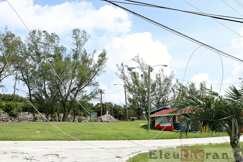 Downed line at the entrance of Hatchet Bay township