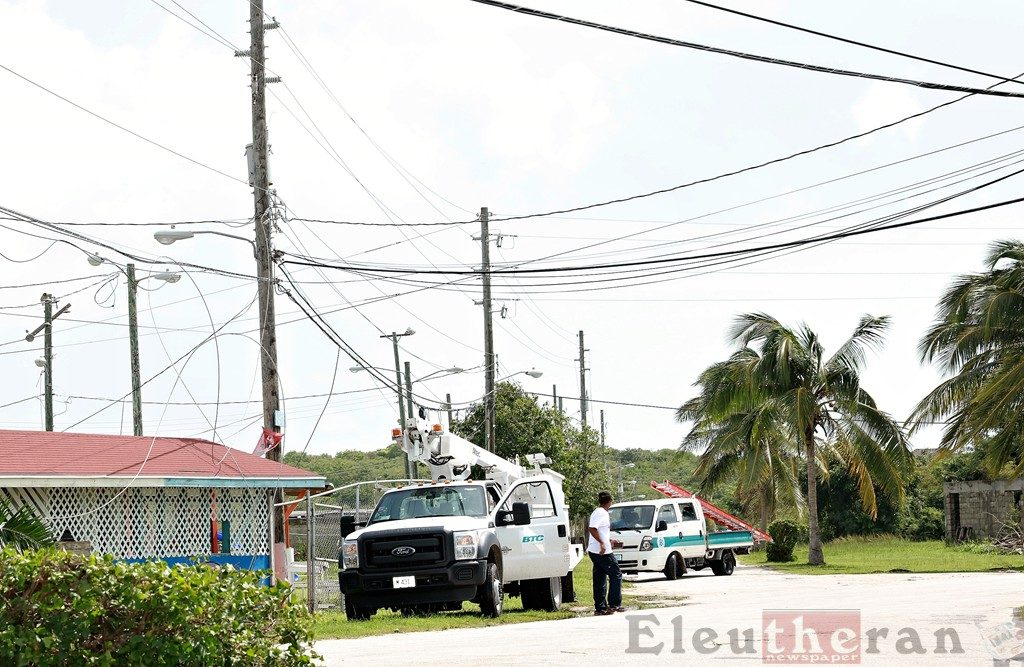 Utility workers were out restoring electricity, telephone, and water service across the island.