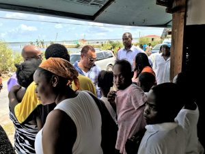 LOWE SOUND, North Andros - The Rt Hon Perry Christie, Prime Minister and Captain Stephen Russell, Director of the National Emergency Management Agency, NEMA, speak with residents in Lowe Sound, Andros during an assessment trip mobilized by NEMA,  on Saturday, October 8, 2016 to Lowe Sound, Andros, one of the areas hardest hit by the Category 4 Hurricane Matthew.   (PHOTO/NEMA)