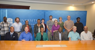 Administrators, historians, archeologists and graduate researchers from the University of The Bahamas, Antiquities, Monuments and Museums Corporation (AAMC) and Florida Museum of Natural History announced the discovery of ancient skeletal remains buried in the sand dunes near Clarence Town, Long Island.