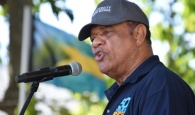 Prime Minister the Rt. Hon. Perry Christie, giving keynote address at the 50th Anniversary of Majority Rule celebrations on the Southern Recreation Grounds, January 10, 2017.  (BIS Photo/Derek Smith)
