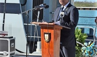Prime Minister the Rt. Hon. Perry Christie addresses the Commissioning of the HMBS Kamalamee, February 24, 2017 at the RBDF Coral Harbour Base.  (BIS Photo/Peter Ramsay)