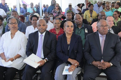 New Managing Director of Bahamasair Holdings Tracy J. Cooper (second left), widow of the former Managing Director Henry Woods' wife Gayle (centre), and Valentine Grimes, Chairman of the Board at Bahamasair (right) attend a reception announcing the appointment of the new Managing Director and other Executive Managers at Bahamasair Holdings, Thursday, February 9, 2017.