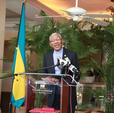 President of the Cooperative Republic of Guyana, His Excellency Brigadier David Granger speaks at a luncheon held in his honor at Churchill's restaurant in the Grand Lucayan on Friday afternoon. (BIS Photo/Lisa Davis)