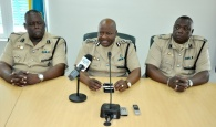 Deputy Commissioner of Police Emrick Seymour, in charge of the Royal Bahamas Police Force's Northern Division, on Tuesday, May 9, assured residents of Grand Bahama that an adequate police presence will be seen and felt in and around all seven polling stations of Grand Bahama and Abaco as the country goes into its General Election on May 10.  Shown from left are: ACP Clarence Reckley, Deputy Commissioner Seymour; and ACP Paul Rolle. (BIS Photo/Vandyke Hepburn)