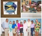 One Eleuthera Foundation accepts check from Sailfish Club. Pictured from left to right: Shaun Ingraham, CEO, One Eleuthera Foundation, Margaret Dyer, Chairperson of Stuart Saltwater Lady Angler Tournament, Monique Smith, Manager, Cape Eleuthera Resort and Marina, Maisie Thompson, Community Outreach Coordinator, and Shapreka Clarke, Community Outreach Assistant, One Eleuthera Foundation, Queenie Dawkins-Sands, Tom Dyer, Chairman of Board, Stuart Sailfish Club Foundation, Chinnici McDonald, Administer of Cancer Society of Eleuthera, Pamela McCarthy Executive Director, Stuart Sailfish Club. The top photos, show a plaque presented to One Eleuthera by the club, and some of the items on display for the auction.