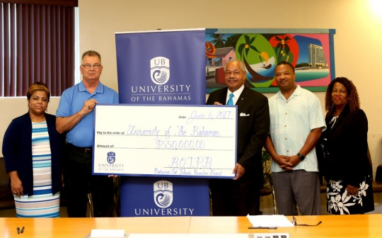 (L-R)- Shavonne Darville, Vice-President, BOIPB; Dean Spychalla, President, BOIPB; Dr. Rodney D. Smith, President, UB; Kerry Fountain, Executive Director, BOIPB; and Cheryl Bastian, Treasurer, BOIPB.