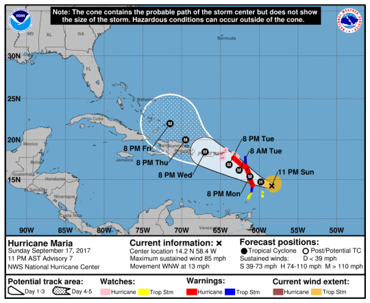 Hurricane Maria Path Mapped, As Storm Strengthens