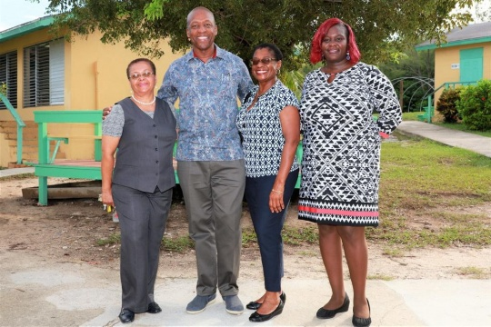 "Former Parliamentarian and Cabinet Minister, Attorney Alfred Sears (center left), with his wife, Mrs. Marion Bethel (center right), standing with Principal Marie Galanis (left), and Math teacher, Mrs. Sweeting (right) at the Central Eleuthera High School, during his, ""A Community Life"" book tour in Eleuthera on Thursday, September 28th, 2017."