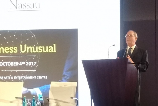 Minister of Financial Services, Trade & Industry and Immigration the Hon. Brent Symonette addresses the AIBT Nassau Conference on the theme, 'Business Unusual', October 4, 2017 at Baha Mar Arts & Entertainment Centre. (BIS Photo)