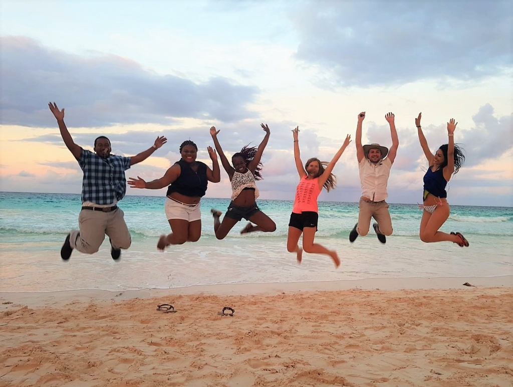 Rotaractors on a beach in Harbour Island.