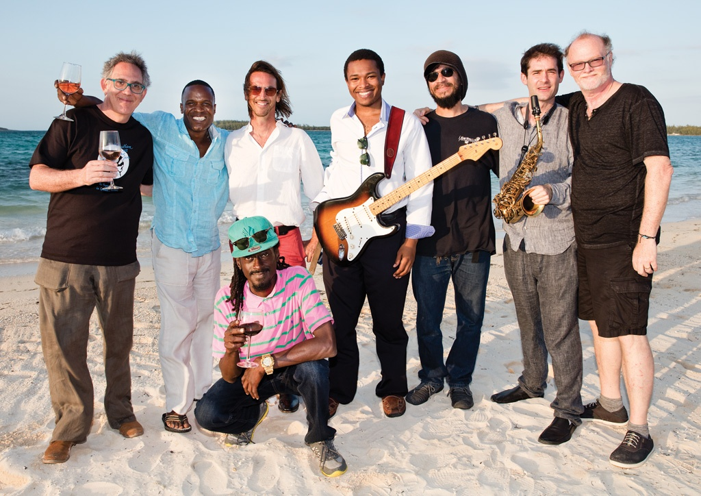 "Jazz performing artists enjoying a short beach break at ""The Other Side"" in North Eleuthera."