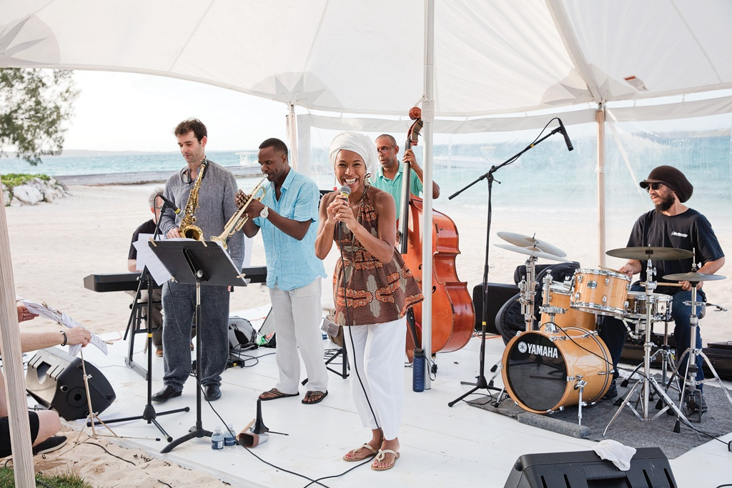 Headliner, Myra Maud performing on the beach, during the Eleuthera... All That Jazz Fest.