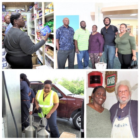 In the Photos: Chairman of the Prices Commission, Ms. Synida Dorsett inspecting a food item at a local food store in Long Island.  The Chairman is also shown sharing a light moment with renowned Long Island businessman Mr. Mario Simms of The Blue Chip. Also seen is Ms. Arielle Braynen, Metrologist with The Bahamas Bureau of Standards and Quality in the Ministry of Labour inspecting a gasoline station in Long Island. Pictured from left to right in the group photo are Mr. Huel Robins, Commissioner of the Prices Commission and Vice Chairman of The Bahamas Bureau of Standards and Quality; Mr. Jason Johnson, Price Inspector at the Consumer Welfare Unit; Ms. Dorsett; Mr. Deron Strachan, Metrologist and Inspector at The Bahamas Bureau of Standards and Quality and Ms. Arielle Braynen, Metrologist with The Bahamas Bureau of Standards and Quality.