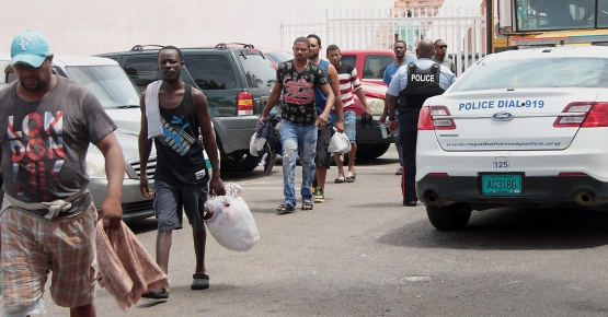 Some of the Dominican fishermen heading to the court in New Providence on July 12, 2018. They were among the 46 fishermen apprehended by the Royal Bahamas Defence Force for fishing in Bahamian waters.  (RBDF Photo by Able Seaman James Carey)