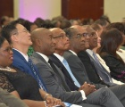 Bahamas Minister of Foreign Affairs, the Hon. Darren Henfield, and Bahamas Minister of Education, the Hon. Jeffrey Lloyd are pictured, centre, at the CARICOM opening session.