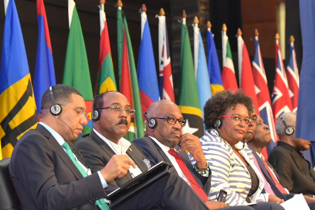 The Official Opening Ceremony of the 39th Regular Meeting of the Conference of Heads of Government of the Caribbean Community (CARICOM), July 4, 2018 at the Montego Bay Convention Centre -- seated from left are: the Most Hon. Andrew Holness, Prime Minister of Jamaica and Chairman of CARICOM; the Hon. Gaston Browne, Prime Minister of Antigua and Barbuda; Dr. the Hon. Hubert Minnis, Prime Minister of The Bahamas; the Hon. Mia Mottley, Prime Minister of Barbados; the Hon. Roosevelt Skerrit, Prime Minister of Dominica; and Dr. the Rt. Hon. Keith Mitchell, Prime Minister of Grenada.
