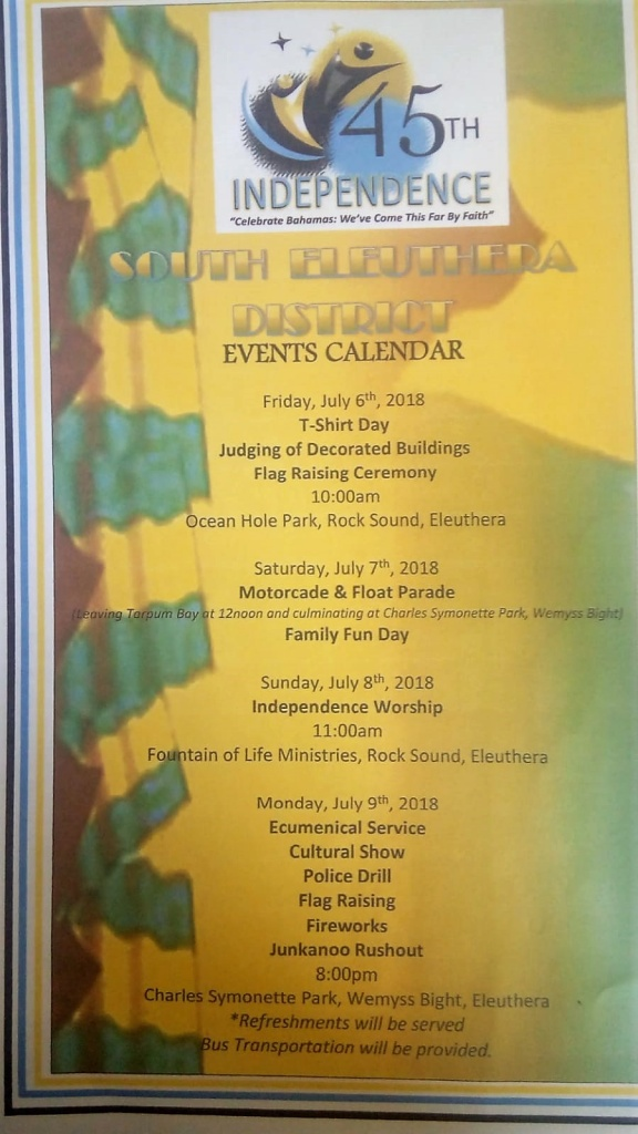 South Eleuthera District Independence Celebration Schedule