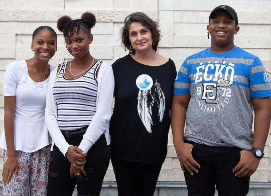 Students from the Central Eleuthera High School arrive in New Providence to participate in the media campaign to Save Lighthouse Point. Pictured (L-R) Wadainya Weinburger, Franchesca Hanna, Sam Duncombe of RE-Earth and Kristman Moss.