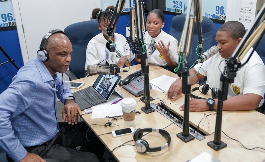 Students from the Central Eleuthera High School lend their endorsement and their voices to the campaign to save the famed Lighthouse Point on their home island of Eleuthtera during an appearance Let's Talk Live Host Carlton Smith.