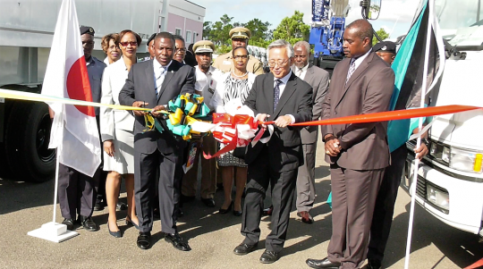 Official Hand Over Ceremony of disaster relief equipment from Japan to the Commonwealth of The Bahamas, October 1, 2018 at NEMA. Among officials at the Ribbon Cutting Ceremony, pictured, are Cora Colebrooke, Permanent Secretary, Ministry of Transport and Local Government; the Hon. Renward Wells, Minister of Transport and Local Government; Mr. Shinichi Yamanaka, Charge d' Affaires, ad interim, Embassy of Japan to the Commonwealth of The Bahamas; and Captain Stephen Russell, Director of NEMA. (BIS Photos)