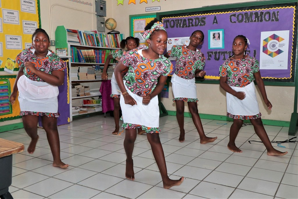 St. Luke's Parish Anglican Church community group of Rock Sound perform a Bahamian folk dance, on May 16, 2018, during the E. Clement Bethel National Arts Festival Eleuthera Adjudications at Deep Creek Primary School.  (BIS Photo / Eric Rose)