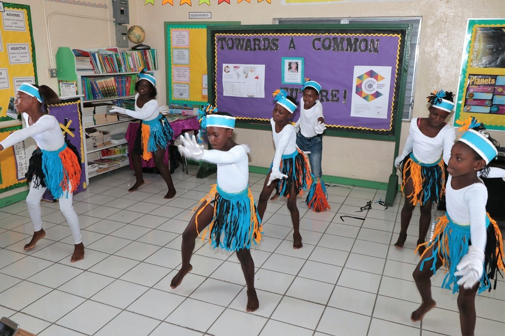 Deep Creek Primary School students showcase their dancing skills, during the E. Clement National Arts Festival Adjudications at their school in Eleuthera, on May 16, 2018.  (BIS Photo / Eric Rose)