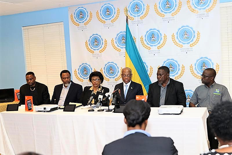 The Government of The Bahamas has embarked on transforming the public education system with full digitization of schools, Minister of Education the Hon. Jeffrey Lloyd (fourth left) announced, February 13, 2019. The ceremony marked the final of four contract signings to accomplish the goal. (BIS Photo/Raymond A. Bethel, Sr.)
