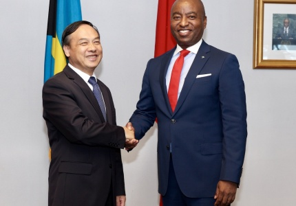 The Government of the Commonwealth of The Bahamas signed a $12 million bilateral agreement with the Government of the People's Republic of China on Thursday, February 21, 2019 at the Ministry of Foreign Affairs. Pictured: Minister of Foreign Affairs, the Hon. Darren Henfield (right) and the Chinese Ambassador to The Bahamas, His Excellency Huang Qinguo.  (BIS Photos/Kristaan Ingraham)