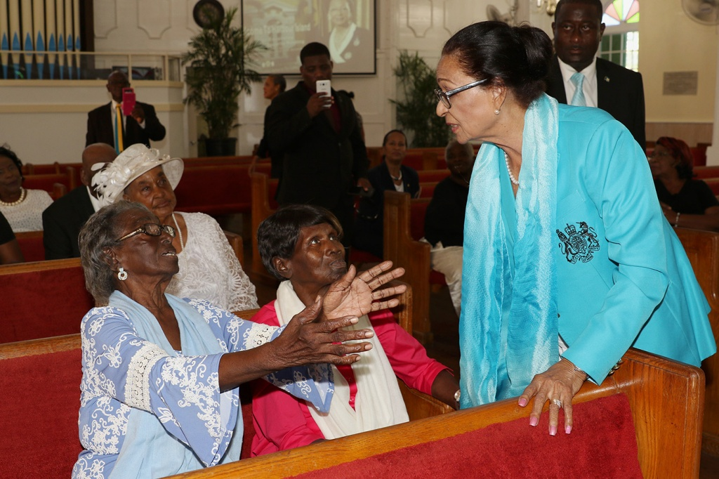Governor General, Her Excellency the Most Hon. Dame Marguerite Pindling chats with citizens at Wesley Methodist Church, Harbour Island Eleuthera on Tuesday, March 5, 2019.
