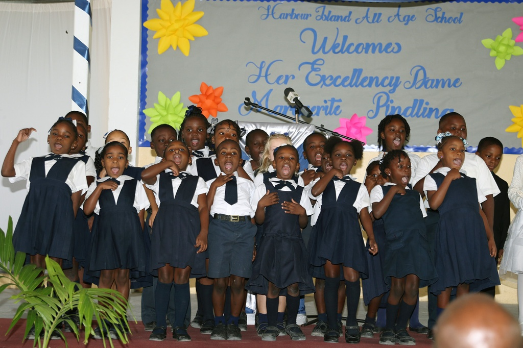 Students of Harbour Island All Age School welcome Governor General, Her Excellency the Most Hon. Dame Marguerite Pindling to their school in a special assembly, Wednesday, March 6, 2019.
