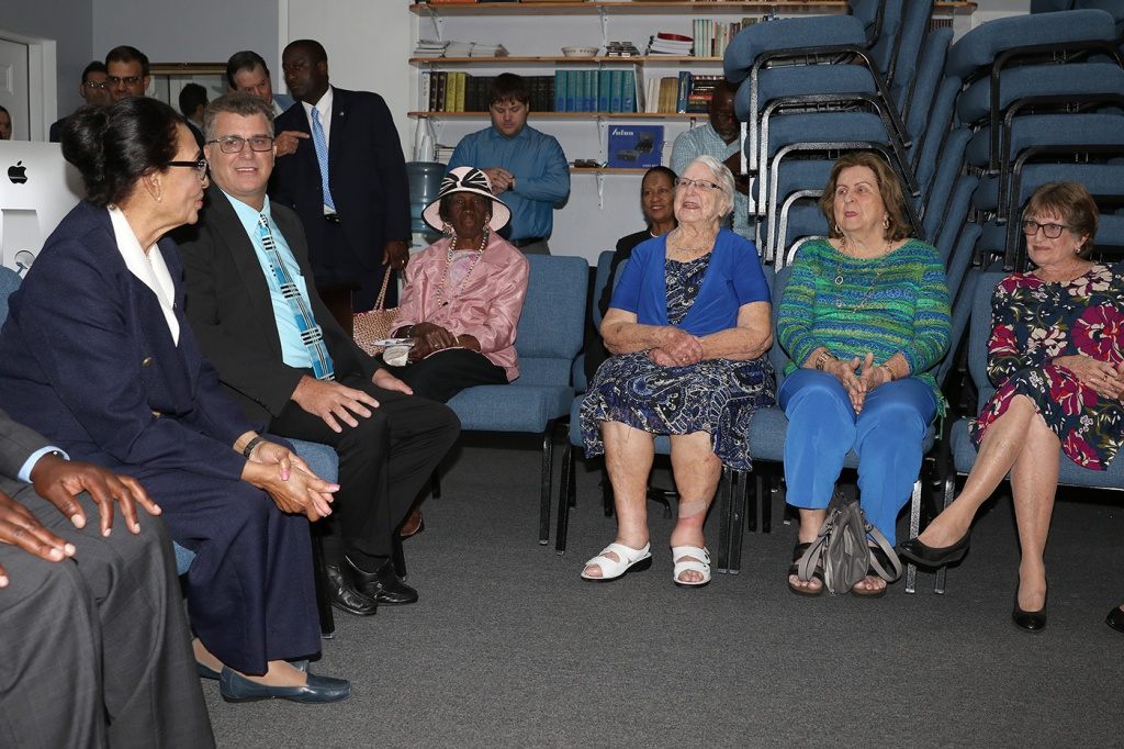 Governor General, Her Excellency the Most Hon. Dame Marguerite Pindling chats with the senior citizens at the People Church in Spanish Wells, Eleuthera during her official visit on Wednesday, March 6, 2019