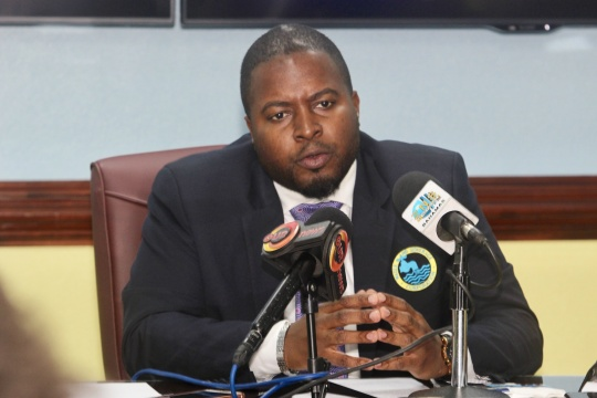 Water & Sewerage Corporation Chairman Adrian Gibson at press conference, April 8, 2019 at the corporation's headquarters. (BIS Photo/Kristaan Ingraham)