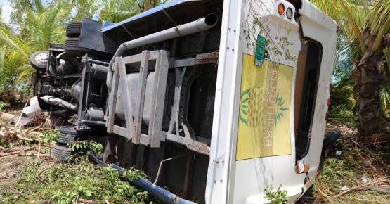 Overturned tour bus.