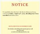 Cancellation Notice 8.29.19