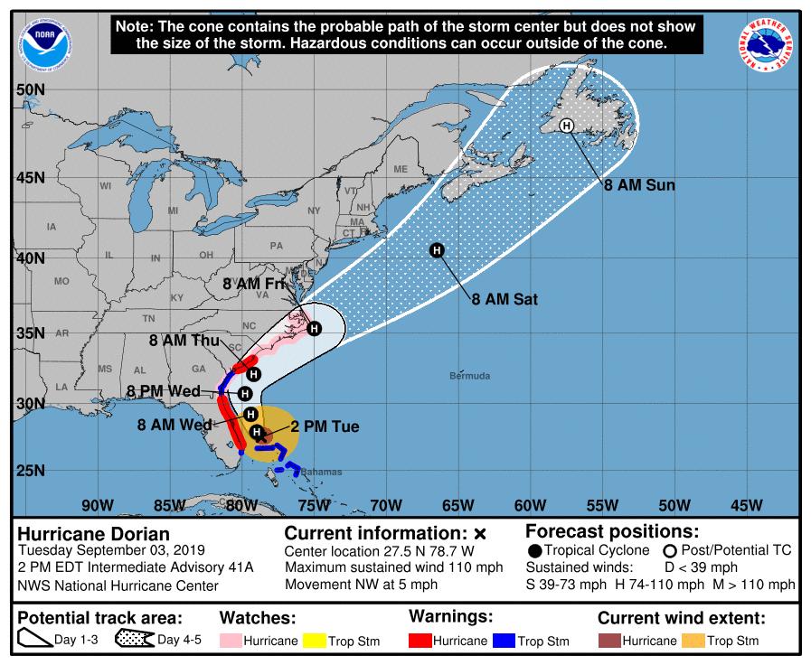 Dorian's Core Finally Moving Away From Grand Bahama