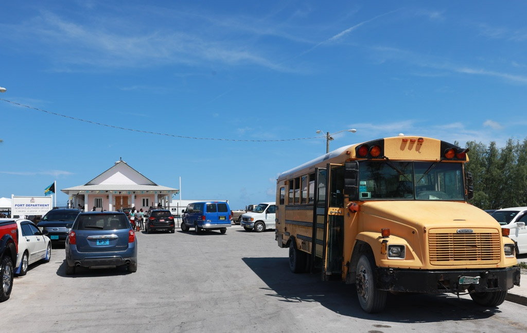 Bus awaits hurricane victim evacuees from the Abacos to transport them to the North Eleuthera airport.