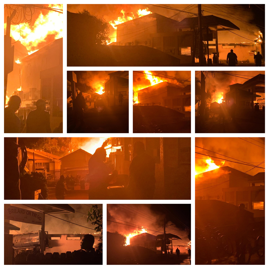 A large blaze, along with multiple explosions rocked Harbour Island on Wednesday evening, October 16th, 2019. The blaze was reported to have started at the 'Briland On The Go' gas station and convenience store.