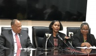 Chief Medical Officer (CMO) in the Ministry of Health, Dr. Pearl McMillan (centre) said that up to time of the Ministry of Health press conference, January 30, 2020, there had been no suspected, reported or confirmed cases of the 2019 Novel Coronavirus in The Bahamas.  Also pictured are Minister of Health, the Hon. Dr. Duane Sands and PAHO Representative to The Bahamas, Dr. Esther de Gourville.  (BIS Photo/Llonella Gilbert)