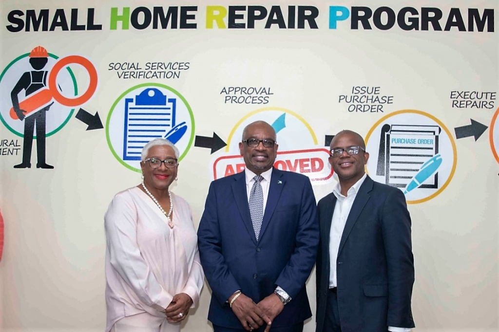 From left, Katherine Forbes-Smith, Managing Director, Bahamas Disaster Reconstruction Authority; the Most Hon. Dr. Hubert Minnis, Prime Minister of the Commonwealth of The Bahamas; and John-Michael Clarke, Chairman, Bahamas Disaster Reconstruction Authority in Freeport, Grand Bahama on February 10, 2020 at the launch of the Small Home Repair Program. (Office of the Prime Minister)