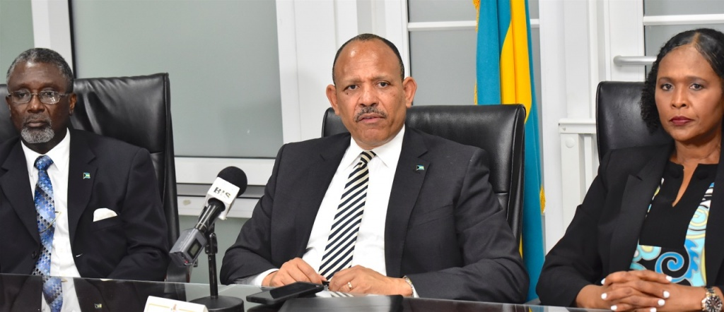 Minister of Health, the Hon. Dr. Duane Sands (centre) provided an update to the number of confirmed COVID-19 cases in The Bahamas during a press conference at the Ministry of Health, Wednesday, March 18, 2020. Also seated, from left: Dr. Nikkah Forbes, Director of Infectious Diseases and Manager of the National AIDS Centre; Permanent Secretary, MOH, Marco Rolle; Chief Medical Officer, Dr. Pearl McMillan and Deputy Chief Medical Officer, Dr. Delon Brennen. (BIS Photos/Kemuel Stubbs)