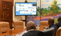 PM Hubert Minnis, Minister of Foreign Affairs Darren Henfield, Confer with CARICOM by Video-Conference.
