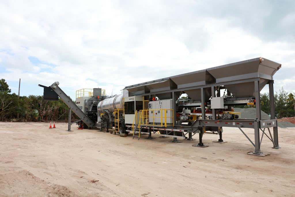 Continuous Flow Asphalt Plant under construction in Governor's Harbour.