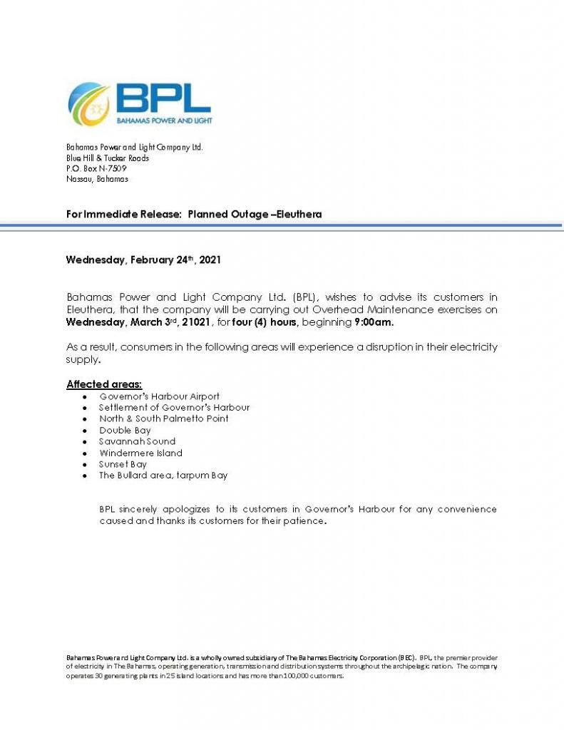 BPL power cut notice - March3
