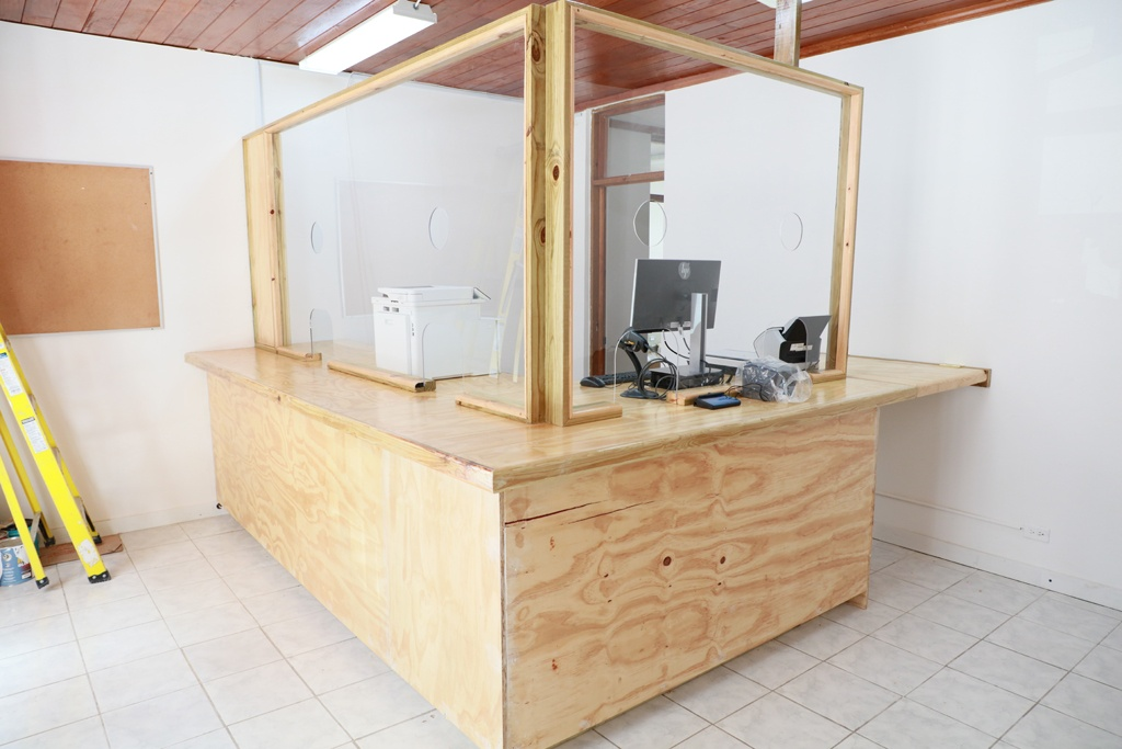 Interior of the Eleuthera Passport Office located in Governor's Harbour, near completion.