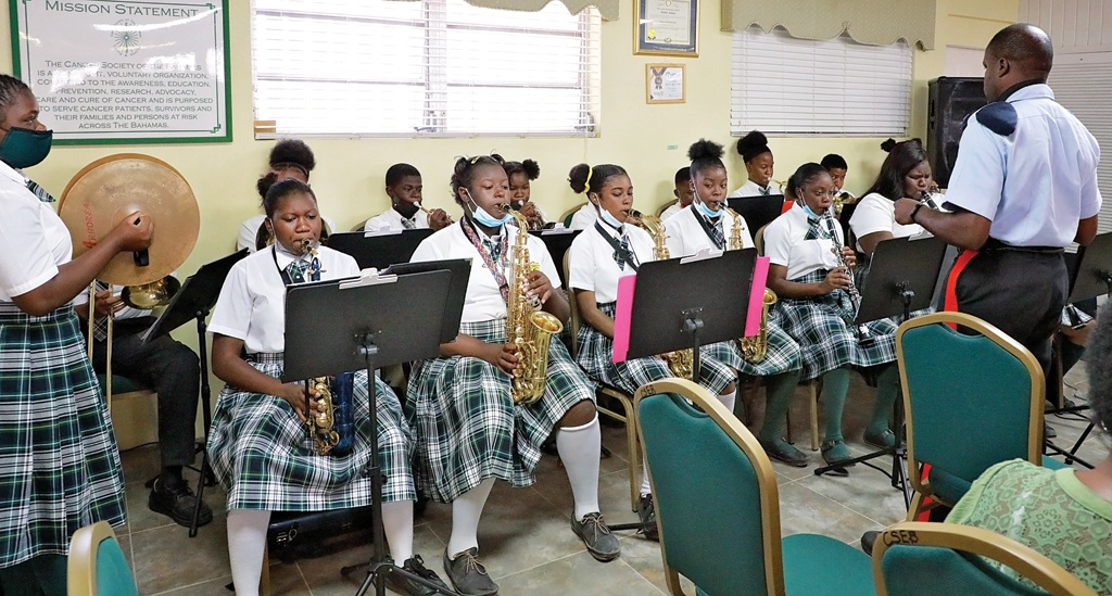 The Central Eleuthera High School band paying tribute in song during the service of appreciation on Friday morning, May 21st, 2021.