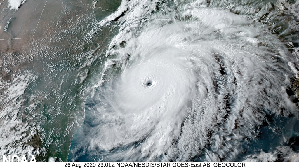NOAA's GOES-East satellite captured this image of Hurricane Laura on August 26, 2020 as it approached the Gulf Coast. (NOAA)