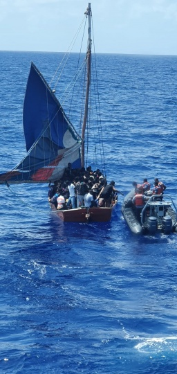 RBDF Photo shows boarding team and Haitian sloop on Wednesday September 22nd, 2021.